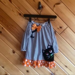Rare Editions Halloween Dress Cat Chevron Polka 4t